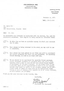 Air America rejection letter